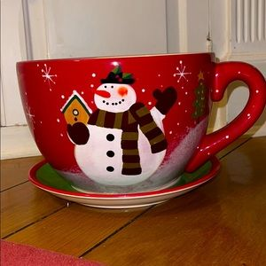 Christmas cup and saucer plant holder